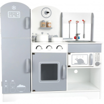 Siva lesena otroška kuhinja s hladilnikom