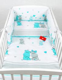 Bela 3-delna posteljnina TURKIZEN HIPPO 120x90 cm