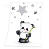 BIJELI pokrivač od pliša PANDA 75x100 cm