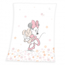 BELA odeja izmehkega peach flisa Minnie Mouse in ROŽICE 75x100 cm