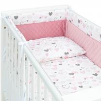 PUDRASTO ROZA 3-delna posteljnina SRČKI 135x100 cm, MAMO-TATO
