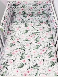 Bela 3-delna posteljnina ROZA VRTNICE 120x90 cm