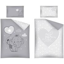 Siva 2-delna posteljnina SLONČEK s svetlo sivim balonom 135x100 cm
