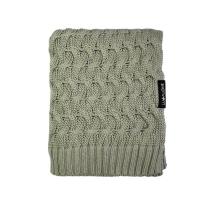 Kaki zelena bambusova pletena odeja KITKA 80x100 cm