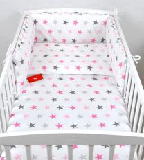 Bijela 3-djelna posteljina SIVE I ROZA ZVJEZDICE 135x100 cm