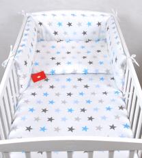Bijela 3-djelna posteljina SIVE I PLAVE ZVJEZDICE 135x100 cm