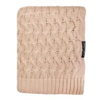 Pudrasto karamel bambusova pletena odeja KITKA 80x100 cm