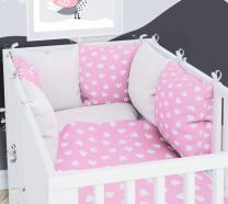 BIJELA - ROZA  dvostrana 3-dJelna posteljina 120x90 cm SRCA, s navlako od jastuka, Balbina