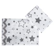 Dvostrana 2-djelna posteljina za kolijevku bijela SIVE ZVJEZDICE - sivi CIK CAK 60x75cm Largo