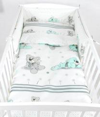 Bijela 3-djelna posteljina SIVI I MINT MEDVJEDIĆ 135x100 cm