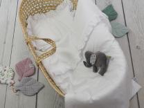 Bela odeja in vzglavnik z volančki s polnilom - 75x65 cm, Betulli