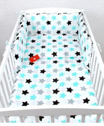 Bela 3-delna posteljnina SIVE, TURKIZNE IN ČRNE ZVEZDE 135x100 cm