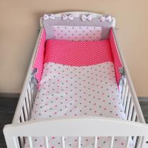 Dvostrana 3-djelna posteljina BIJELA sa sivim i rozim zvjezdicama ŽARKO ROZA bijele točkice 120x90 cm Largo