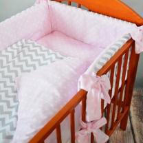 Dvostrana 3-djelna posteljina roza TOČKICE-CIK CAK 135x100 cm