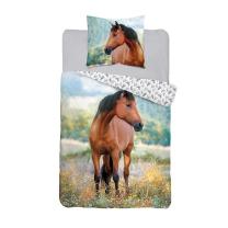 Dvostranska 2-delna posteljnina rjav konj140x200 cm
