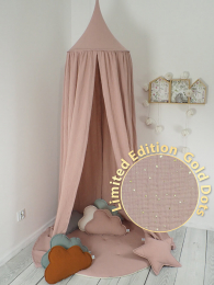 PUDRASTO ROZA  baldahin ali šotor z zlatimi pikicami MUSLIN Betulli