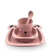4-delni roza otroški jedilni set iz bambusa ANIMAL CLUB Rouge, Jollein