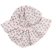 Roza klobuček z rožicami - UV zaščita (0-1 leto)