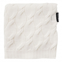 Kokos bela MERINO volnena pletena odeja LULLALOVE 80x100 cm - PREMIUM