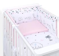 BELA - ROZA dvostranska 3-delna posteljnina SAFARI 135x100 cm, MAMO-TATO