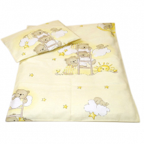 Žuta 2-djelna posteljina za kolijevku MEDVJEDKI 50x70 cm