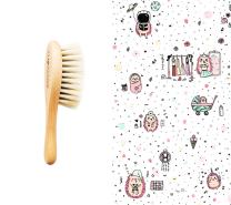 Mehka krtača za lase in krpica iz muslina ROZA JEŽKI 40x40 cm LULLALOVE