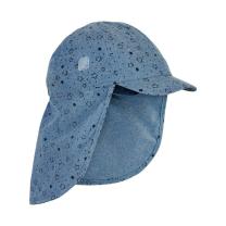 Jeans moder klobuček - kapa s šiltom za dojenčka z UV zaščito (UPF 50+) 6-12 m – FADED DENIM ZVEZDICE, En Fant