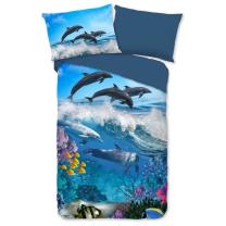 Modra otroška posteljnina DELFINI 140x200 cm