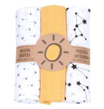 Rumena in bele tetra pleničke iz muslina regratove lučke in ozvezdje (3 KOSI) MAMO-TATO