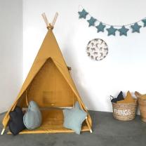 Mustard rumen šotor Babo Tipi, LAN podloga 120x120 cm