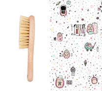 Krtača za lase in krpica iz muslina ROZA JEŽKI 40x40 cm LULLALOVE