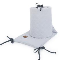 SVETLO SIVA obroba za posteljico, MUSLIN (180x30 cm), MAMO-TATO