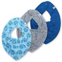 Modra rutka-slinček – trikotniki, traktor in slončki (3 kosi), Pippi®