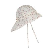 Kremno bel otroški klobuček z UV zaščito (UPF 50+) 6-12 m, OLD ROSE METULJČKI – En Fant