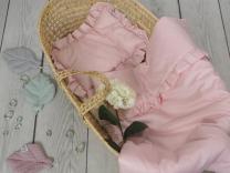 Svetlo roza odeja in vzglavnik z volančki s polnilom - 75x65 cm, Betulli