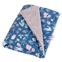 SIVA velvet odeja ali igralna podloga PETROL MODRA gozdne živali, 75x100 cm BabyMatex