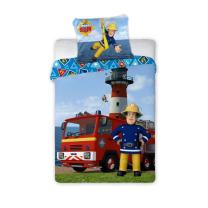 Modra 2-delna posteljnina GASILEC SAMO stolp 135x100 cm, ©DISNEY