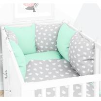 MINT - SIVA dvostrana 3-djelna posteljina 120x90 cm SRCA, s navlako od jastuka, Elfique