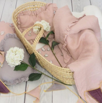 Pepelnato roza 2-delna lanena posteljnina s polnilom 75x100 cm, Betulli