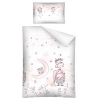 Roza 2-delna posteljnina SOVICE SWEET DREAMS 120x90 cm BabyLux