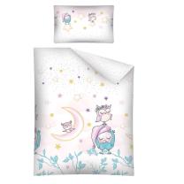 Vijolična 2-delna posteljnina SOVICE SWEET DREAMS 120x90 cm BabyLux