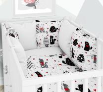 BELA  dvostranska 3-delna posteljnina 120x90 cm MUCKI,