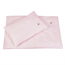 Pudrasto roza 2-delna posteljnina BELE PIKE nepravilnih oblik 120x90 cm Largo