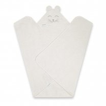 Bela brisača iz bambusa s kapuco Z UŠESKI 130x75 cm,  QBANA MAMA