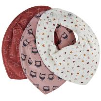 Kremno bela rutka-slinček – cvetlice, srčki in sovice (3 kosi), Pippi®