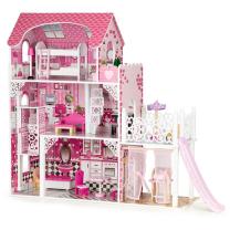 Roza hiša za punčke s toboganom (Ecotoys) 90 cm