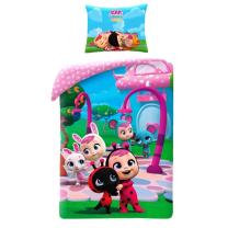 Svetlo roza 2-delna posteljnina CRY BABIES in živalice 140x200 cm