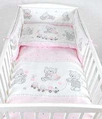 Roza 3-djelna posteljina MEDVJEDIĆ I VLAKIĆ 135x100 cm