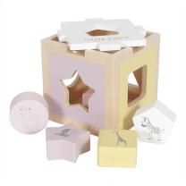 ROZA didaktična kocka za razvršanje oblik Zoo (12m+); Little Dutch