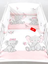 Bela 3-delna posteljnina ROZA SLONČEK Z ROŽICO 120x90 cm